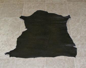 UWE7031-9) Hide of Green Brown Embossed Lambskin Leather Skin