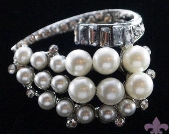Pearl Brooch Pin - Rhinestone Pearl Brooch - Pearl and Crystal Brooch - Forever Pearl Brooch