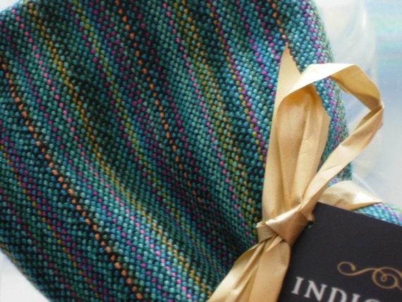 Handwoven Cotton Towel Beachcomber Blue with black weft 100% Cotton 20 x 30 inches