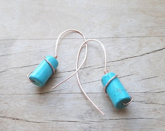 Turquoise Tube Copper Earrings