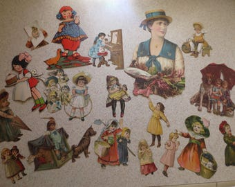 Vintage Ephemera Victorian Lot of 55 Fussy Paper Cut-Outs of Children  Kids  Boys and Girls and Their Pets