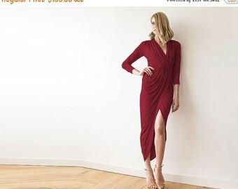 Oscar Sale Bordeaux Formal maxi wrap dress with long sleeves , Wrap tulip Bordeaux gown 1034
