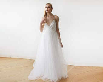 Ivory straps wrap tulle maxi dress, Fairy tulle wedding gown, Affordable wedding gown 1053