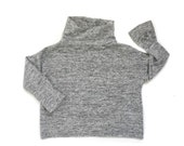 Stay Cozy Dolman Sweater. Soft brushed sweater knit, salt and pepper color.