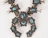 Vintage Squash Blossom - Vintage Native American 1950's-60's Sterling Silver & Turquoise Squash Blossom