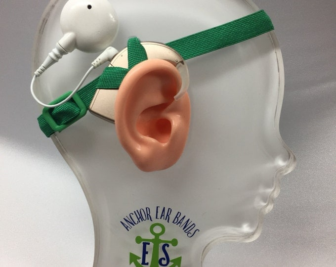 Green - Cochlear Implant Heaband - Adjustable Length - Silicone Grip Sleeve - Non Slip Grip  - Unilateral, Bilateral, Bimodal option