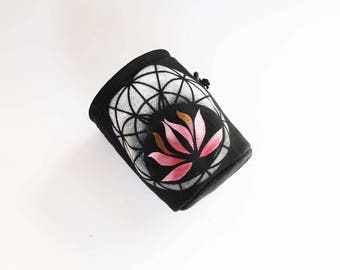 White On Black Sacred Geometry Chalk Bag - Rock Climbing