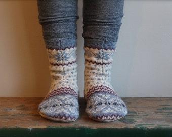 Children's Wool Slippers, Childs Slippers, Girls Slippers