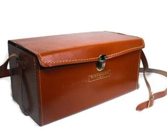 Vintage Winntaur Case - Luggage Tan Leather, Mid Century Case, Camera or Video Case, Case with Shoulder Strap