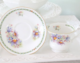 MAY Tea Cup and Saucer by Queen's English Fine Bone China, May Birthday Gift Inspiration, Tea Party