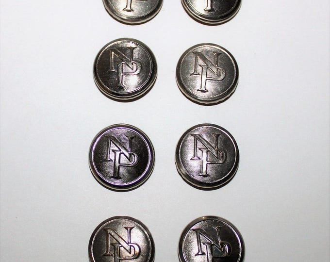 Vintage Mid-Century set of 8 Northern Pacific Railroad Conductor Button Covers, Uniform Button Covers