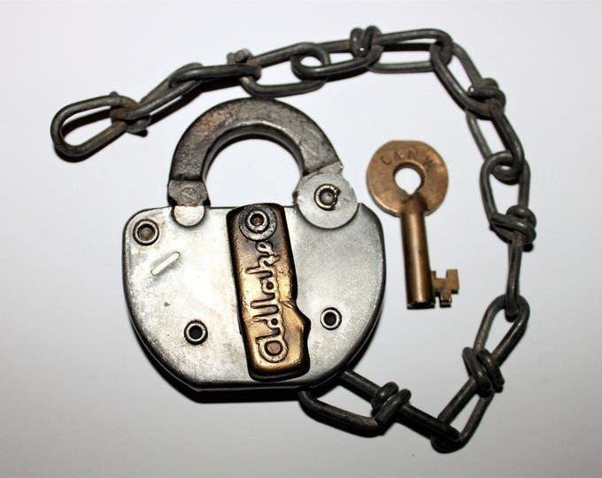 Vintage 1975 Adlake Padlock C &  NW and Hollow Barrel Brass Key, Chicago and North Western Railroad