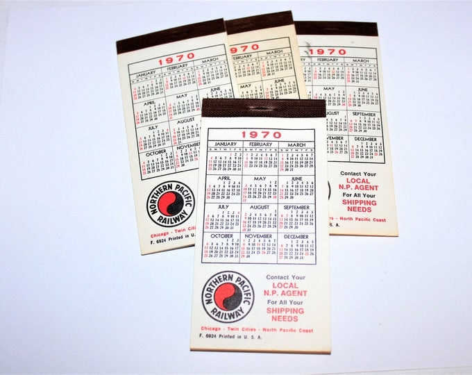 Vintage 1970-71 Set of 4 Unused Northern Pacific Railway Pocket Calendar and Notepads