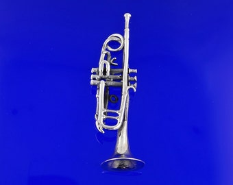 Sterling Silver Trumpet Pendant, Free Shipping Free Shipping!