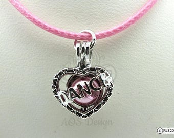Pick A Pearl Cage Silver Plated Dance Heart Love Charm Locket Cheerleader on PINK CORD