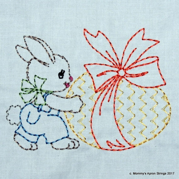 Vintage easter bunny with egg machine embroidery design