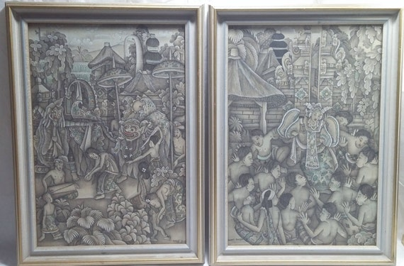ART SALE Vintage Balinese Paintings Set of 2 Signed