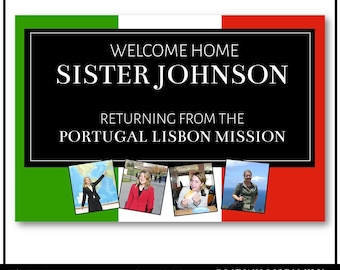 Custom LDS Missionary Welcome Home Banner: with pictures mission and name, 24x36 Digital File