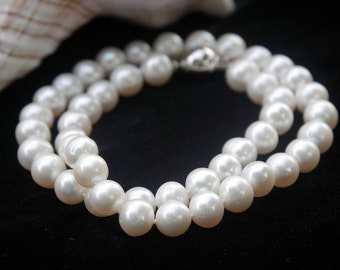 Pearl Necklace classic genuine Pearl Necklace elegant white gold round