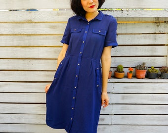 Vintage Dress, 1980s Dress, Vintage Japanese Dress, Vintage Womens Dress, Retro Clothing, 80s Dress, Secretary Dress, Blue Dress