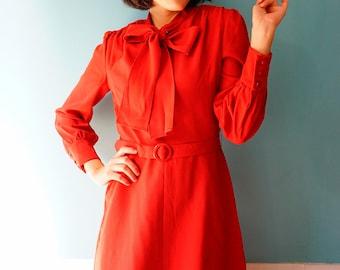 Vintage Dress, 1980s Dress, Vintage Japanese Dress, Womens Dress, Summer Dress, 80s Dress, Retro clothing, Red Dress, Bow tie Dress