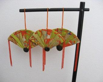 Ornament ,silk obi fabric,Folding fan,yellow green