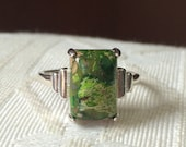 Ambers Vintage Sterling Silver Sea Sediment Brecciated Green Jasper Ring Beautiful
