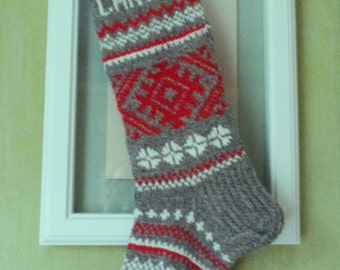 Christmas Stocking  Hand knit Wool Folksy ornaments Red Gray White Personalized Christmas decoration Christmas gift