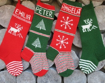 Christmas Stocking Personalized Wool Hand knit Red Dark Moss Green White Tree Snowflakes Stripes Christmas decoration gift