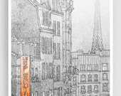 30% OFF SALE: Winter in Paris - Paris illustration Art illustration Eiffel tower Paris art poster Paris decor Living room decor Wall decor W