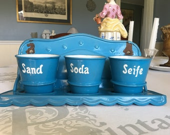 Antique Enamelware Laundry Set from Germany, 3 Blue and White Pots, Sand, Soda, Seife, Valentines gift, Housewarming, Pencil Cup, Wall Decor