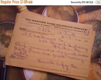 ON SALE 3 1900s Antique Handwritten Paper Telegraphs Telegrams
