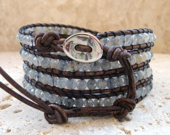 So Stunning! 4mm Faceted Labradorite on Grey Leather Beaded 4-Wrap Bracelet