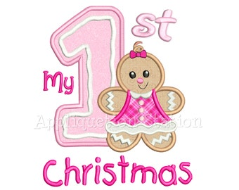 My First Christmas Ginger Baby Girl Applique Machine Embroidery Design 1st Gingerbread Man Cookie Holiday INSTANT DOWNLOAD