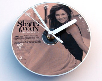SHANIA TWAIN CD Clock, Made from an recycled cd, greatest hits, Fun gift, for women, girl, office worker, co worker, friend, beige bronze