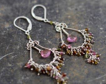 Gemstone Chandelier Earrings, Tourmaline Earrings, Pink, Chandelier Earrings, Sterling Silver Chandlier, Pink Earrings, Dangle Earrings