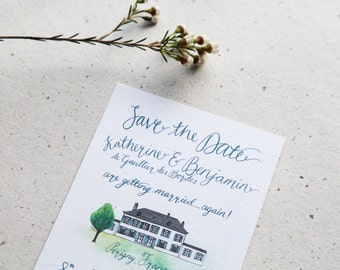 Custom Illustrated & Painted Save the Date - Unique Wedding Stationery