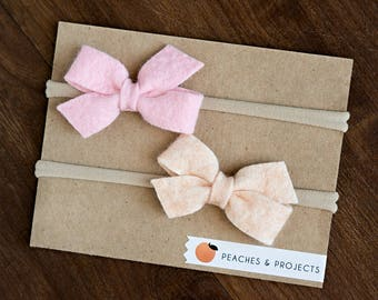 Pink, Blush Wool Felt bows on Nylon Headbands, Set of Two, Bow Hair Baby Toddler Accessory
