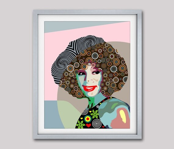 Whitney Houston  Pop Art Celebrity Portrait Poster,  Gift For Her,  African American Home Decor, Green, Colourful, Beige, Tan, Brown
