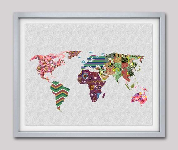 World Map Art, Map Art Decor, Map Print Poster, Geometric Art Print, Colorful Artwork, Giclee Art Print, Office Decor