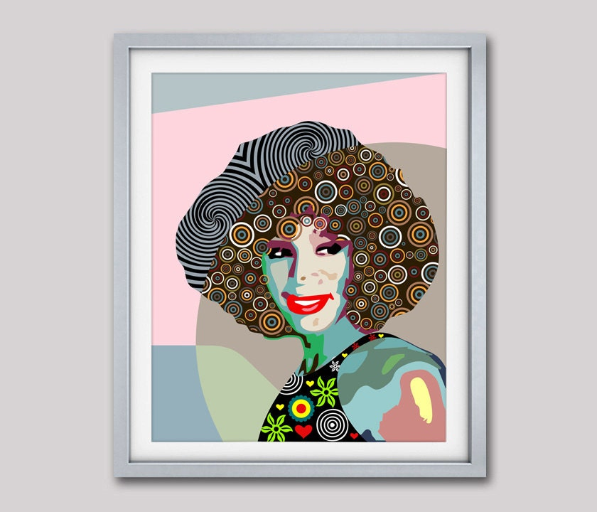 whitney houston pop art celebrity portrait poster gift for her african american home decor green colourful beige tan brown