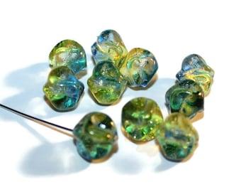 10 - 10mm Green Blue Czech Glass Nugget Beads (004)