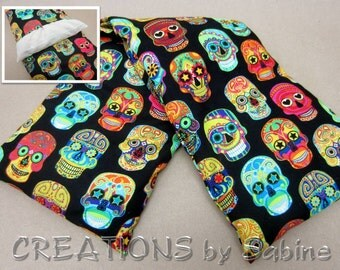 Corn Heating Bag with washable cover Microwaveable Pillow Neck Back Wrap Sugar Skulls Skull Colorful Day of the Dead READY TO SHIP (492)