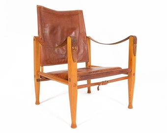Danish Mid Century Modern Oak + Leather Safari Chair by Kaare Klint