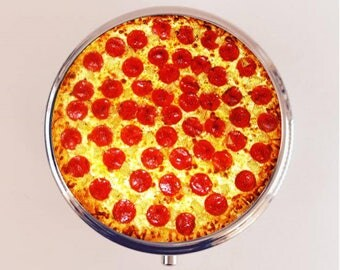 Pizza Pill Box Case Pillbox Holder Stash Trinket Box Pop Art Food