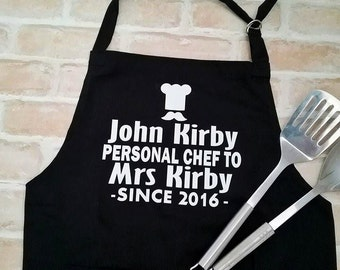 Groom Apron; Personalised Kitchen Apron; Personalised Chef Since Year; Novelty Cooking Apron; Gift for Cook; Gift for Husband; Cooks Apron