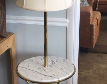 Fantastic Faux Bamboo Brass and Marble Floor Lamp