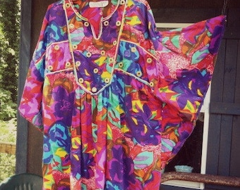 Vintage Hippie Dress | Summer Clothes | Lounging Gown | Hawaiian Party Dress | Colorful Flowers | Luau Costume