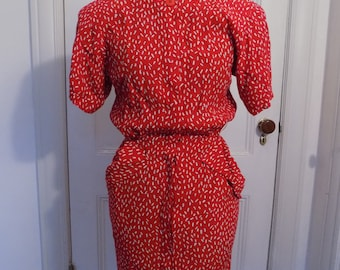 Vintage 80s Does 40s Red & White Maggy London by Jeannene Booher Dress