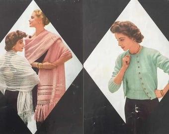 Vintage Dawn Orlon Book 123 Stoles Sweaters Baby Sets Hats Knitting Crochet Pattern Men Women & Children PDF Download